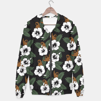 Thumbnail image of Sloth and Hibiscus Flowers Hoodie, Live Heroes