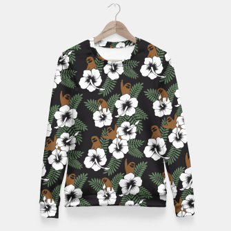 Thumbnail image of Sloth and Hibiscus Flowers Fitted Waist Sweater, Live Heroes