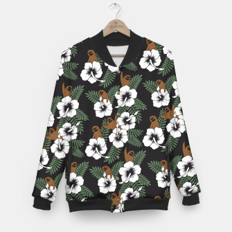 Thumbnail image of Sloth and Hibiscus Flowers Baseball Jacket, Live Heroes