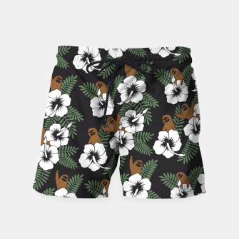 Thumbnail image of Sloth and Hibiscus Flowers Swim Shorts, Live Heroes