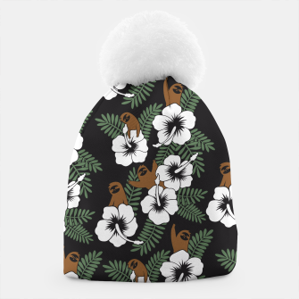 Thumbnail image of Sloth and Hibiscus Flowers Beanie, Live Heroes