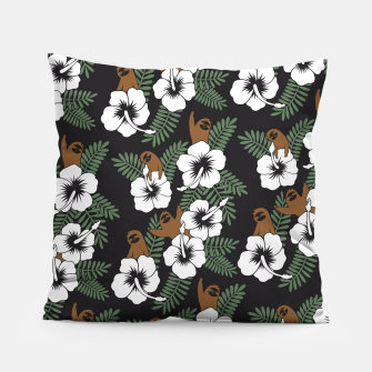 Thumbnail image of Sloth and Hibiscus Flowers Pillow, Live Heroes