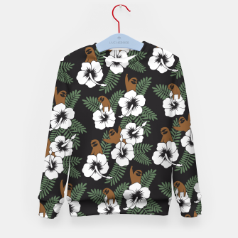 Thumbnail image of Sloth and Hibiscus Flowers Kid's Sweater, Live Heroes