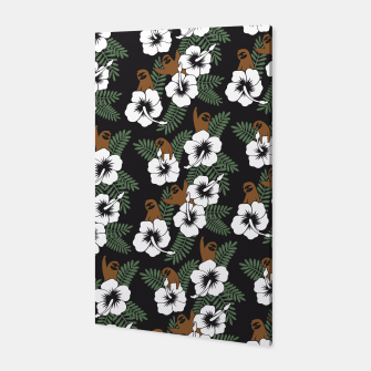 Thumbnail image of Sloth and Hibiscus Flowers Canvas, Live Heroes