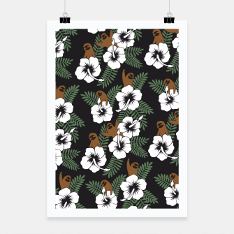 Thumbnail image of Sloth and Hibiscus Flowers Poster, Live Heroes