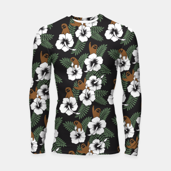 Thumbnail image of Sloth and Hibiscus Flowers Longsleeve Rashguard , Live Heroes