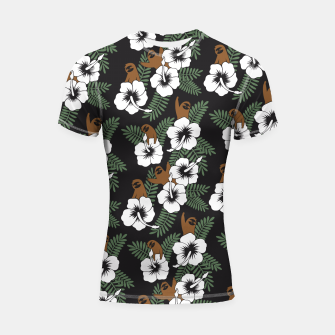 Thumbnail image of Sloth and Hibiscus Flowers Shortsleeve Rashguard, Live Heroes