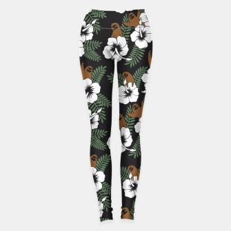 Thumbnail image of Sloth and Hibiscus Flowers Leggings, Live Heroes