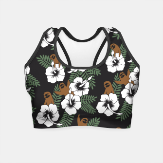 Thumbnail image of Sloth and Hibiscus Flowers Crop Top, Live Heroes