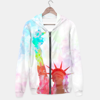 Thumbnail image of Statue of Liberty with colorful painting abstract background in red pink blue yellow Hoodie, Live Heroes