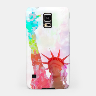 Thumbnail image of Statue of Liberty with colorful painting abstract background in red pink blue yellow Samsung Case, Live Heroes