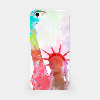 Thumbnail image of Statue of Liberty with colorful painting abstract background in red pink blue yellow iPhone Case, Live Heroes
