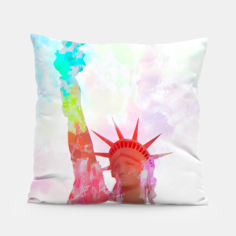Thumbnail image of Statue of Liberty with colorful painting abstract background in red pink blue yellow Pillow, Live Heroes