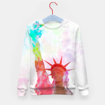 Thumbnail image of Statue of Liberty with colorful painting abstract background in red pink blue yellow Kid's Sweater, Live Heroes