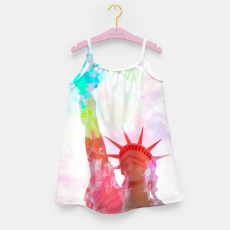 Thumbnail image of Statue of Liberty with colorful painting abstract background in red pink blue yellow Girl's Dress, Live Heroes