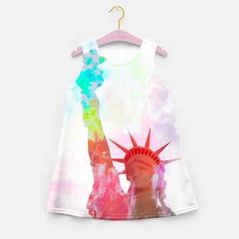 Thumbnail image of Statue of Liberty with colorful painting abstract background in red pink blue yellow Girl's Summer Dress, Live Heroes