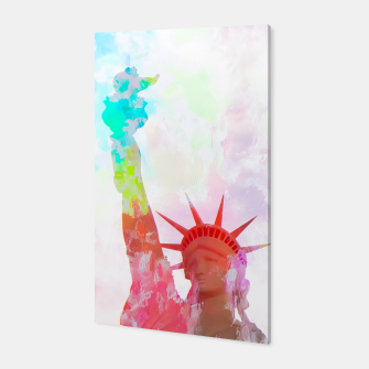 Thumbnail image of Statue of Liberty with colorful painting abstract background in red pink blue yellow Canvas, Live Heroes