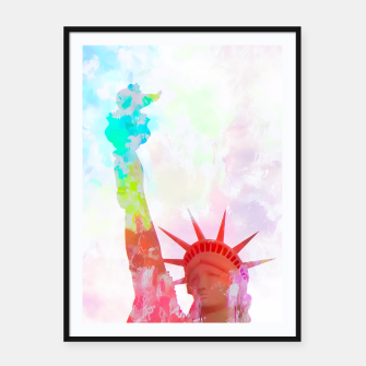 Thumbnail image of Statue of Liberty with colorful painting abstract background in red pink blue yellow Framed poster, Live Heroes