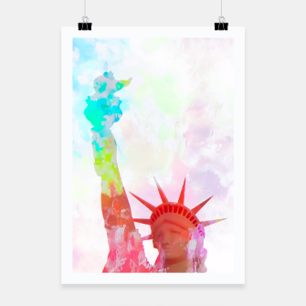 Thumbnail image of Statue of Liberty with colorful painting abstract background in red pink blue yellow Poster, Live Heroes