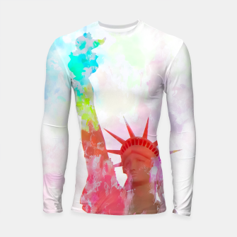 Thumbnail image of Statue of Liberty with colorful painting abstract background in red pink blue yellow Longsleeve Rashguard , Live Heroes