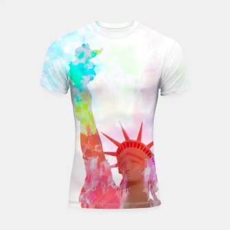 Miniatur Statue of Liberty with colorful painting abstract background in red pink blue yellow Shortsleeve Rashguard, Live Heroes