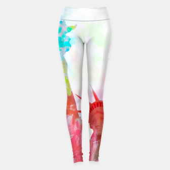 Thumbnail image of Statue of Liberty with colorful painting abstract background in red pink blue yellow Leggings, Live Heroes