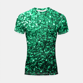 Thumbnail image of Beautiful Emerald Green  sparkles Shortsleeve Rashguard, Live Heroes