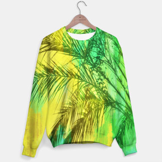 palm tree with green and yellow painting texture abstract background Sweater thumbnail image