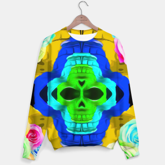Imagen en miniatura de funny skull portrait with colorful roses in pink blue yellow green Sweater, Live Heroes