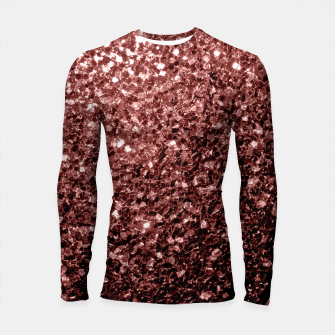Thumbnail image of Beautiful Glam Marsala Brown Red Glitter sparkles Longsleeve Rashguard , Live Heroes