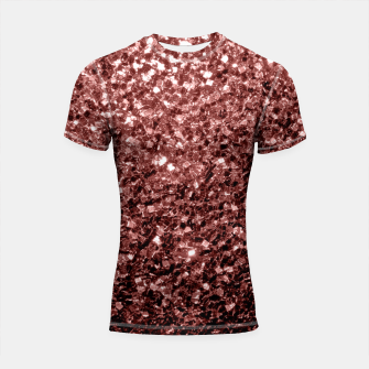Thumbnail image of Beautiful Glam Marsala Brown Red Glitter sparkles Shortsleeve Rashguard, Live Heroes