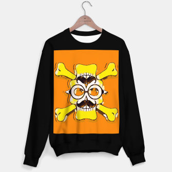Thumbnail image of yellow old vintage skull and bone graffiti drawing with orange background Sweater regular, Live Heroes