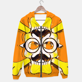 Thumbnail image of yellow old vintage skull and bone graffiti drawing with orange background Hoodie, Live Heroes