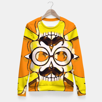 Thumbnail image of yellow old vintage skull and bone graffiti drawing with orange background Fitted Waist Sweater, Live Heroes