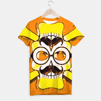 Thumbnail image of yellow old vintage skull and bone graffiti drawing with orange background T-shirt, Live Heroes