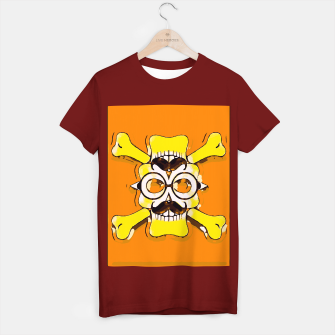 Thumbnail image of yellow old vintage skull and bone graffiti drawing with orange background T-shirt regular, Live Heroes