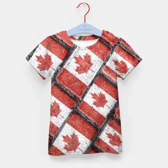 Thumbnail image of Canadian Flag Motif Pattern Kid's T-shirt, Live Heroes