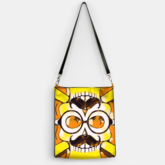 Thumbnail image of yellow old vintage skull and bone graffiti drawing with orange background Handbag, Live Heroes