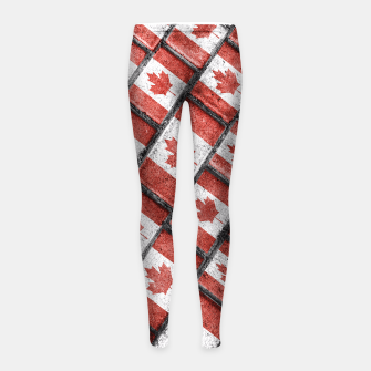 Thumbnail image of Canadian Flag Motif Pattern Girl's Leggings, Live Heroes
