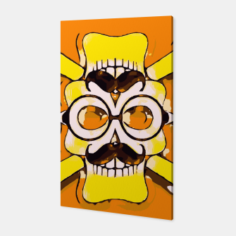 Thumbnail image of yellow old vintage skull and bone graffiti drawing with orange background Canvas, Live Heroes