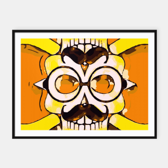 Thumbnail image of yellow old vintage skull and bone graffiti drawing with orange background Framed poster, Live Heroes