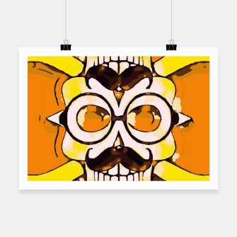 Thumbnail image of yellow old vintage skull and bone graffiti drawing with orange background Poster, Live Heroes