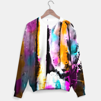 Thumbnail image of cactus with wooden background and colorful painting abstract in orange blue pink Sweater, Live Heroes