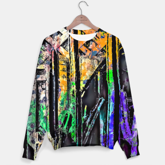 Thumbnail image of cactus with wooden background and painting abstract in green orange blue purple Sweater, Live Heroes