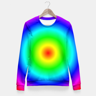 Miniatur Neon Rainbow Growing Circles Fitted Waist Sweater, Live Heroes