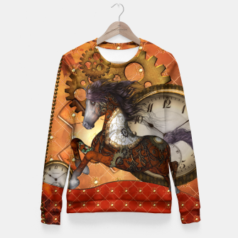 Thumbnail image of Steampunk, awesome horse Fitted Waist Sweater, Live Heroes