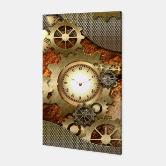 Thumbnail image of Steampunk with clocks and gears, golden design Canvas, Live Heroes