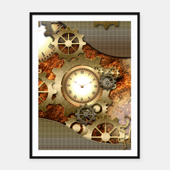 Thumbnail image of Steampunk with clocks and gears, golden design Framed poster, Live Heroes