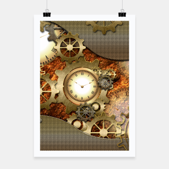 Thumbnail image of Steampunk with clocks and gears, golden design Poster, Live Heroes