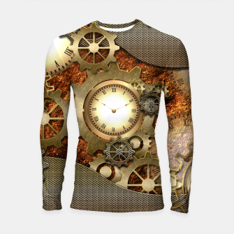 Thumbnail image of Steampunk with clocks and gears, golden design Longsleeve Rashguard , Live Heroes